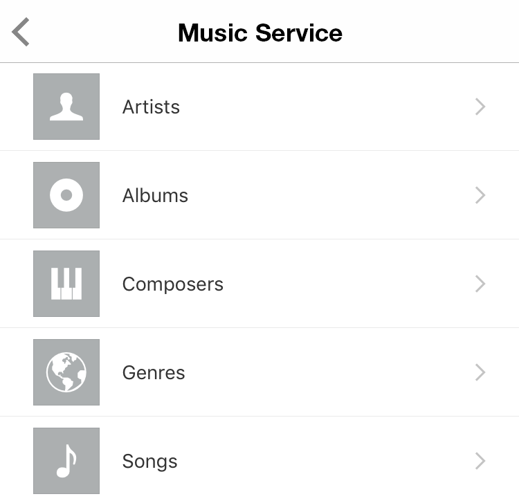 Music Service settings